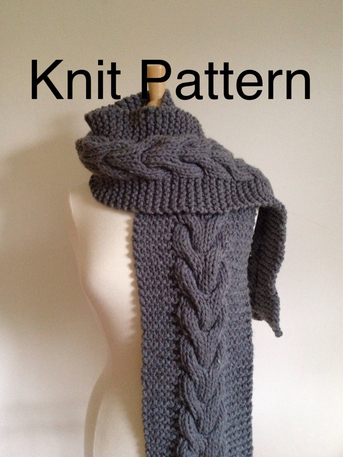 Knit Pattern Scarf Pattern- Hand Knit Scarf Pattern With A Horseshoe ...