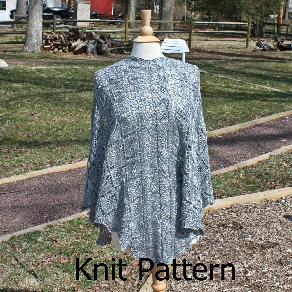 Knit Shawl Pattern - Triangle Shawl Pattern - Easy Lace Pattern Leaf ...