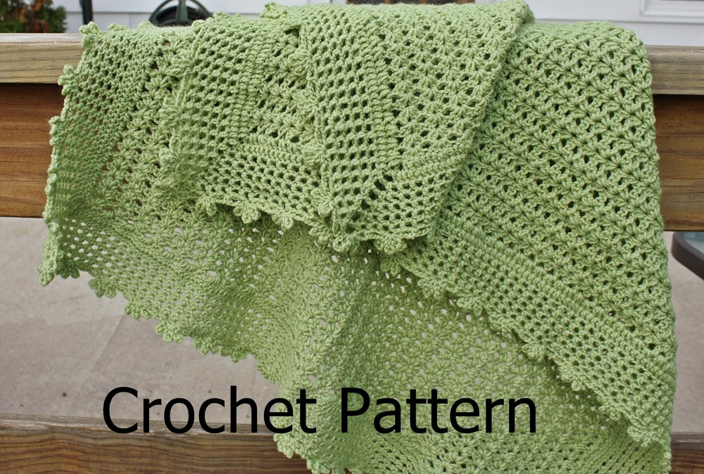 Crochet Pattern Baby Blanket Pattern Lightweight Lacy Shell Picot On Impressive Lacy Baby Blanket Crochet Pattern