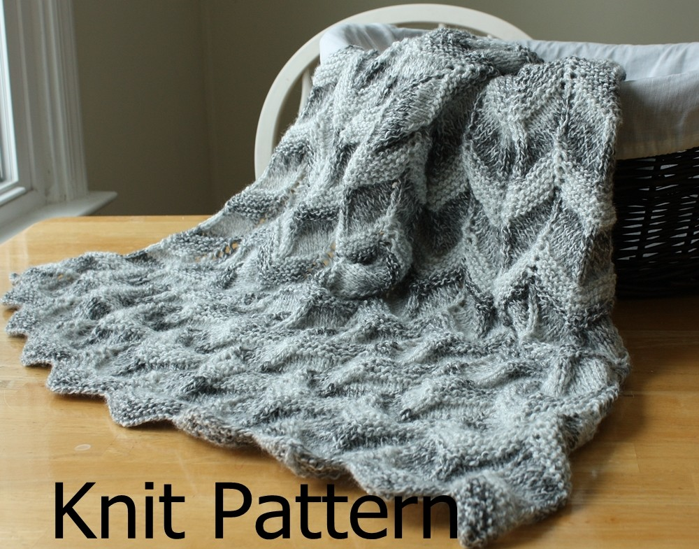 Knit Pattern Baby Blanket Pattern Easy Ripple Chevron On Luulla